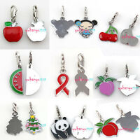 NEW Mixed Peach With Leaves Styles Enamel Charms Clip On Lobster Clasp Pendant