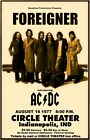 Foreigner 1977 box office concert POSTER with AC/DC