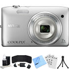 Nikon COOLPIX S3500 20.1MP Digital Camera 720p HD (Silver) Refurbished Bundle