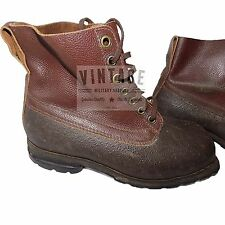 UK 10 LEATHER BUSHCRAFT WATERPROOF BOOTS VINTAGE SWEDISH ARMY M59 1950 1960s
