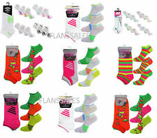 3 PAIRS OF LADIES GIRLS  WOMENS NEON TRAINER SOCKS SIZE UK 4 TO 6