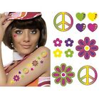 Ladies 60s 70s Pk of 6 CND Hippy Temporary Tattoos Fancy Dress 1st Class Post