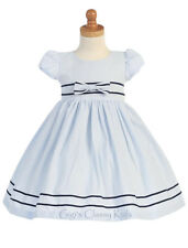 New Baby Toddler Girls Striped Seersucker Cotton Blue Dress Easter Wedding M668