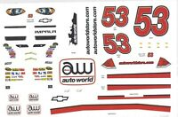 #53 AUTOWORLD NASCAR 1/24th - 1/25th Scale Waterslide Decals