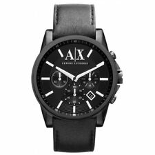 Armani Exchange AX2098 Men's Chronograph Black Dial Black IP Steel Leather Strap