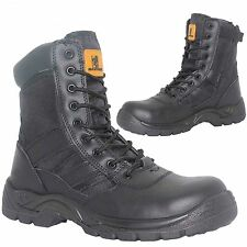 MENS LEATHER COMBAT SAFETY WORK BOOTS ARMY MILITARY POLICE STEEL TOE CAP 6-12