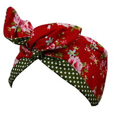 Rockabilly Style 1950s Hairband - Red Vintage Floral & Green Polka