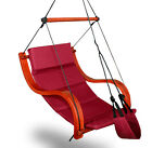 New Deluxe Burgundy Hammock Air Chair Padded Hanging Lounge Chair Outdoor Patio