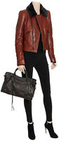 Authentic New Women's Balenciaga Brown Leather Biker Jacket with Fur Collar,FR40