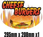 BIG Exterior Catering CHEESE BURGER Oval Decal Cut UV Laminated Food Sticker