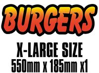BIG Exterior Catering Burger Text Decal Cut Printed UV Laminated Food Sticker