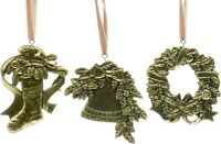 Gold Stocking Wreath & Bell Set of 3 Metal Christmas Tree Decorations  17156