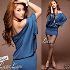 New Womens Off Shoulder Batwing Dolman Short Sleeve Tunic Slim Mini Dress Casual