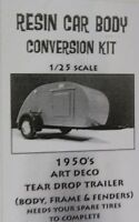 1950's Art Deco Tear Drop Trailer Flintstone 1/25th Scale Resin Body Kit nb198