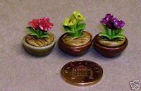 1:12 Scale Variety Of 3 Different Ceramic Flowers In Pots Dolls House Miniature