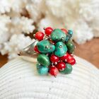 Sterling Silver Red Coral & Genuine Turquoise Ring NEW
