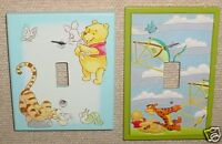 Classic Pooh 2 Light Switch Covers Nursery Baby VGC Winnie the Pooh