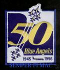 BLUE ANGELS PATCH 50TH ANNIVERSARY 1996 US NAVY MARINES PIN UP ANGEL AIRSHOW WOW