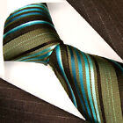 84220 US / LORENZO CANA SILK NECKTIES GREEN STRIPES NEW