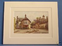 PUDDLETOWN DORSET  VINTAGE DOUBLE MOUNTED HASLEHUST PRINT c1920 10X8 OVERALL