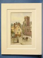 ST. MARY STEPS EXETER DEVON VINTAGE DOUBLE MOUNTED HASLEHUST PRINT c1920 10X8
