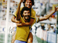 """SOCRATES SIGNED BRAZIL v ITALY 16""""x12"""" WORLD CUP PHOTOGRAPH SEE PROOF WITH ZICO"""