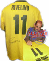 ROBERTO RIVELINO SIGNED BRAZIL 1970 WORLD CUP 11 SHIRT SEE PROOF PELE