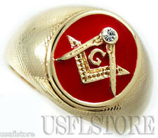 Mens Masonic Mason Oval Red 18kt Gold Plated Ring New