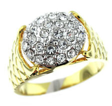 Crystal Pave Dome Two Tone Gold EP Mens Ring