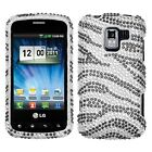 Zebra Crystal Diamond BLING Hard Case Snap on Phone Cover for LG Enlighten VS700