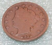 1912 Liberty Head V NICKEL 5 CENTS  Five CENT COIN