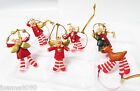 Gisela Graham Christmas Gift Tree Decorations Hanging Angels Reindeer Resin Set