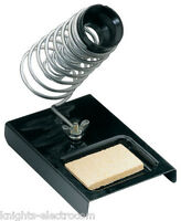 METAL SOLDERING IRON STAND WITH TIP CLEANING SPONGE bench top holder