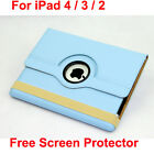New iPad ipad 3 3rd Generation 360° Rotating Blue Leather Cover Case + Protector
