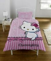 CHARMMY KITTY PANEL SINGLE BED DUVET QUILT COVER SET (FREE P+P)