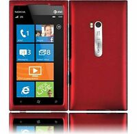 For AT&T Nokia Lumia 900 Rubberized HARD Case Snap On Phone Cover Rubber Red