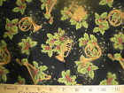Cotton Fabric-Holiday Dazzle Musical Horns Gold/Black -- Gorgeous Fabric