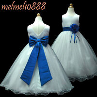 UKMD59B Royal Blue/ White Party Pageant Wedding Flower Girls Dress 1 to 13 Yrs