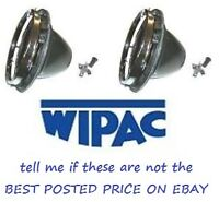 PAIR WIPAC 7 INCH HEADLAMP BOWLS & RETAINER RINGS S5400 MG TRIUMPH CLASSIC MINI