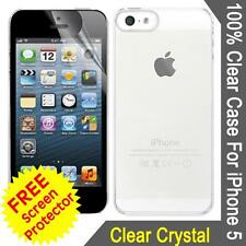 Ultra Thin 100% Crystal Clear Plastic Case Cover For Iphone 5 & Screen Protector