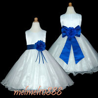 UKMD57 Royal Blue Baby Formal Wedding Pageant Flower Girls Dress 1 to 13Yrs