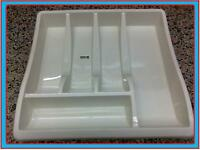 SMALL CREAM PLASTIC CUTLERY HOLDER TRAY DRAWER ORGANISER TIDY WHITEFURZE QUALITY