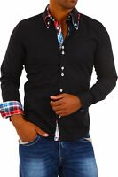 CARISMA Slim Fit Hemd Polo Shirt Kontrast Party Schwarz Clubwear H-110