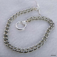 "Charm bracelet blank 7.5"" Silver tone x 6 with flower toggle clasp Non tarnish"