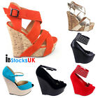 Ladies Womens Summer Wedges Beach High Heels Shoe Size 3 4 5 6 7 8 Black Sale