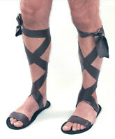 New Mens Brown Roman Greek Gladiator Fancy Dress Costume Accessory Sandals Shoes