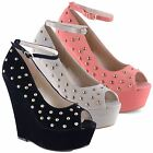 New Ladies Peep Toe Ankle Strap Studded High Wedge Heels Shoes Sizes UK 3 - 8
