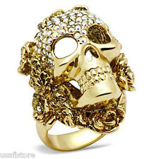 Mens Skull With Flowers Aurora Borealis Crystal Gold Plated Ring