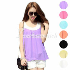 Lady's Chiffon Sleeveless Tank Tops Vest Double Layer Splicing Casual Wholesale