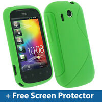 Green Dual Tone TPU Gel Case for HTC Explorer Android Cover Skin Holder A310e